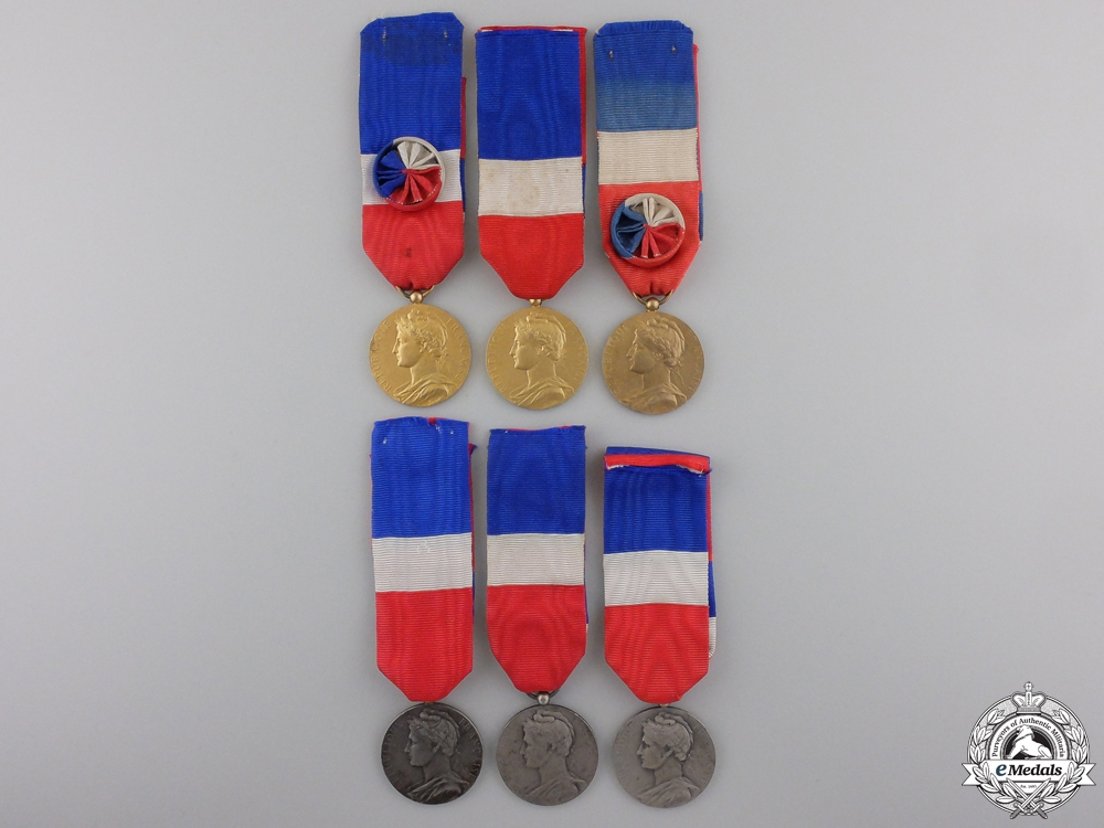 Six French Ministry of Labour and Social Security Honour Medals