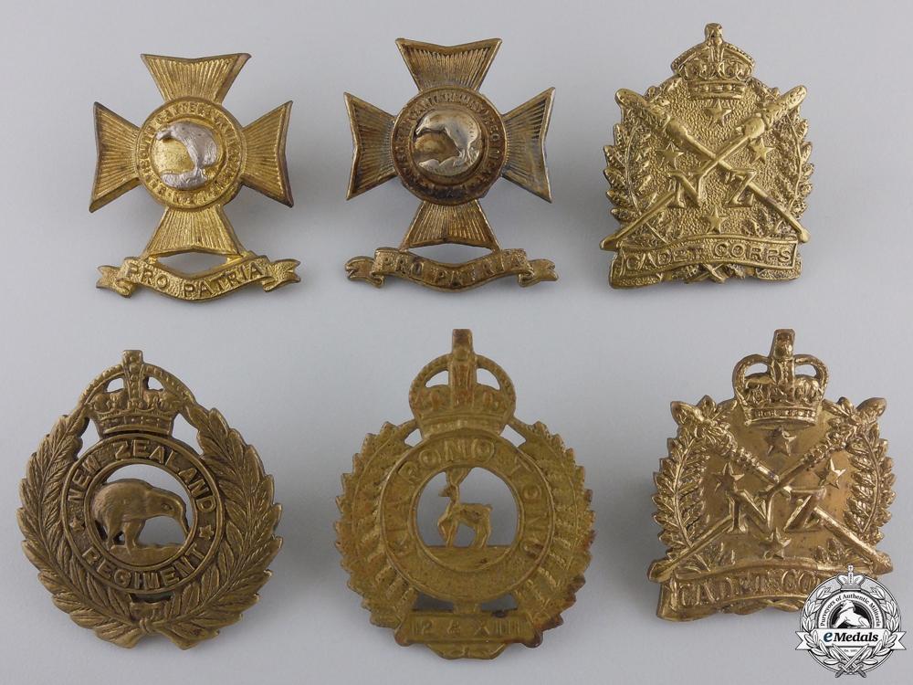 Six New Zealand First War Period Cap Badges