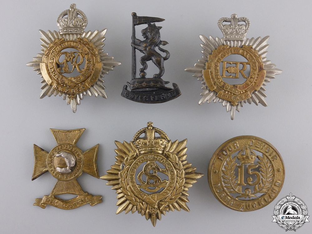 Six New Zealand Cap Badges