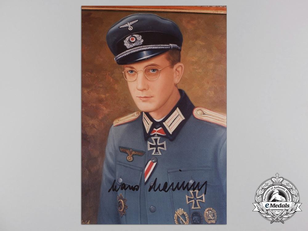 A Post War Signed Photograph of Knight's Cross Recipient; Hans Heiland