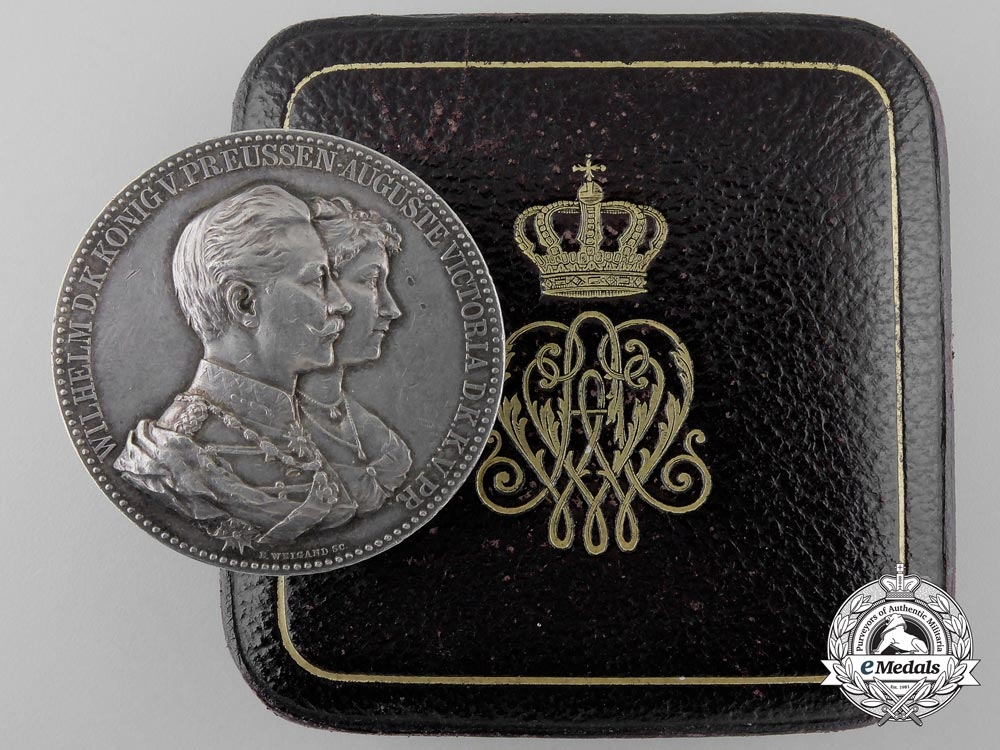 An 1890 Prussian Wedding Anniversary Medal with Case