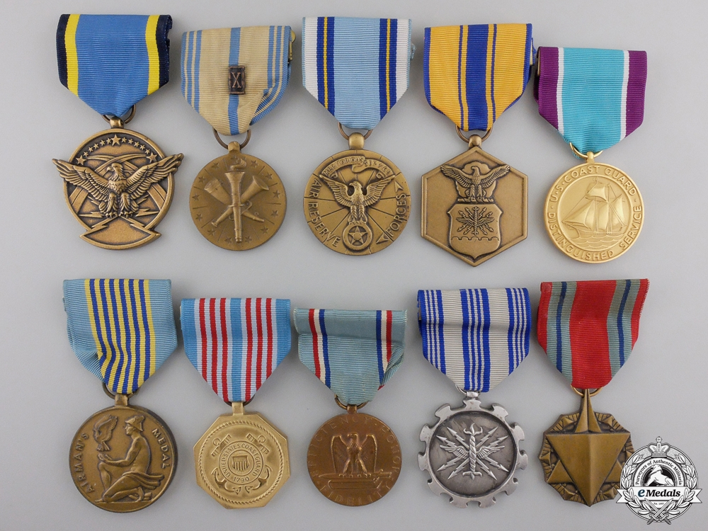 Ten American Air Force and Coast Guard Medals