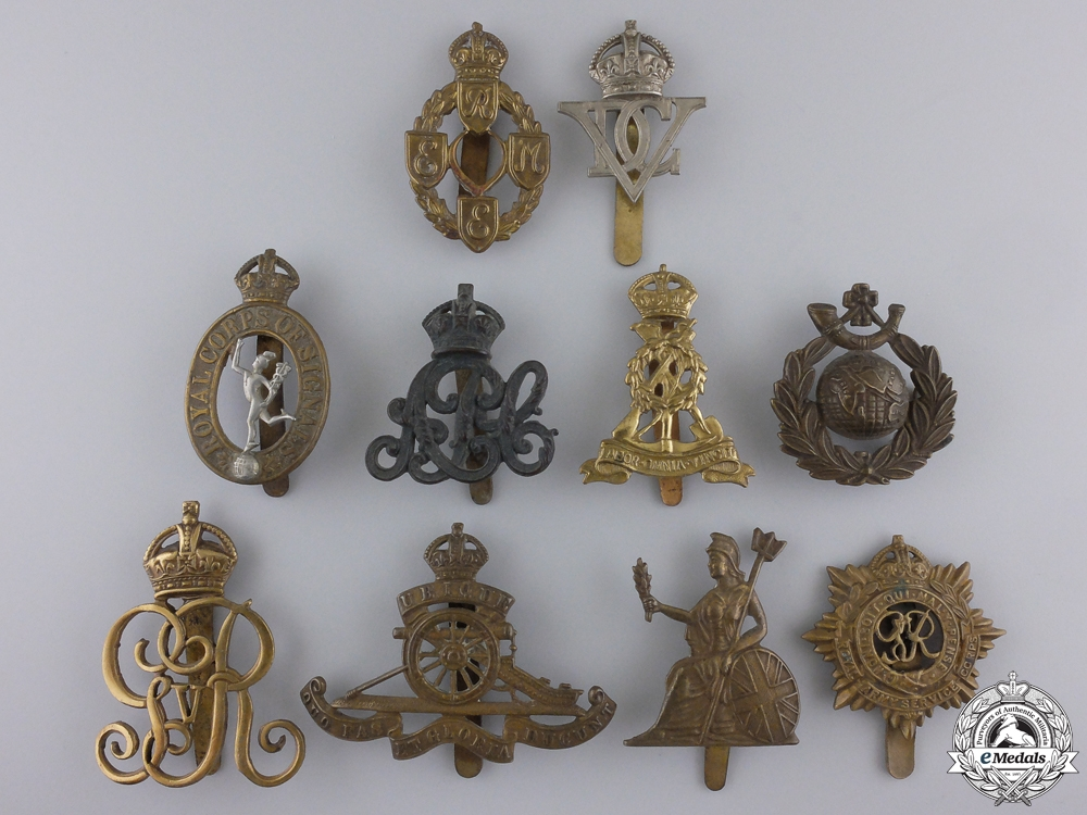 Ten First War British Cap Badges