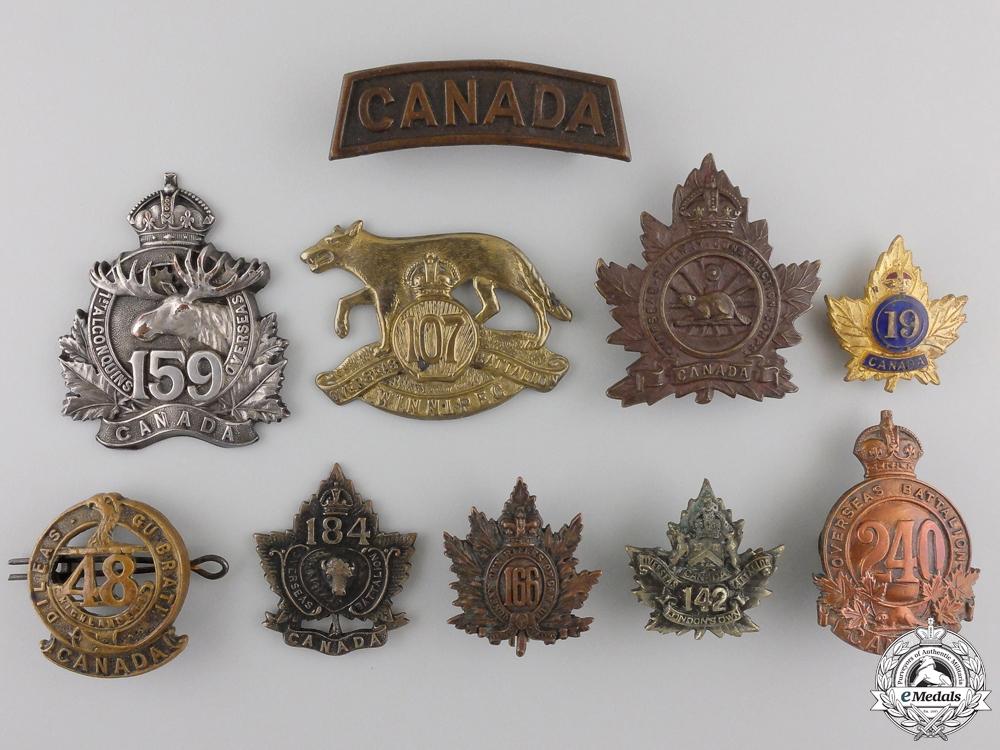 Ten First War Canadian Badges