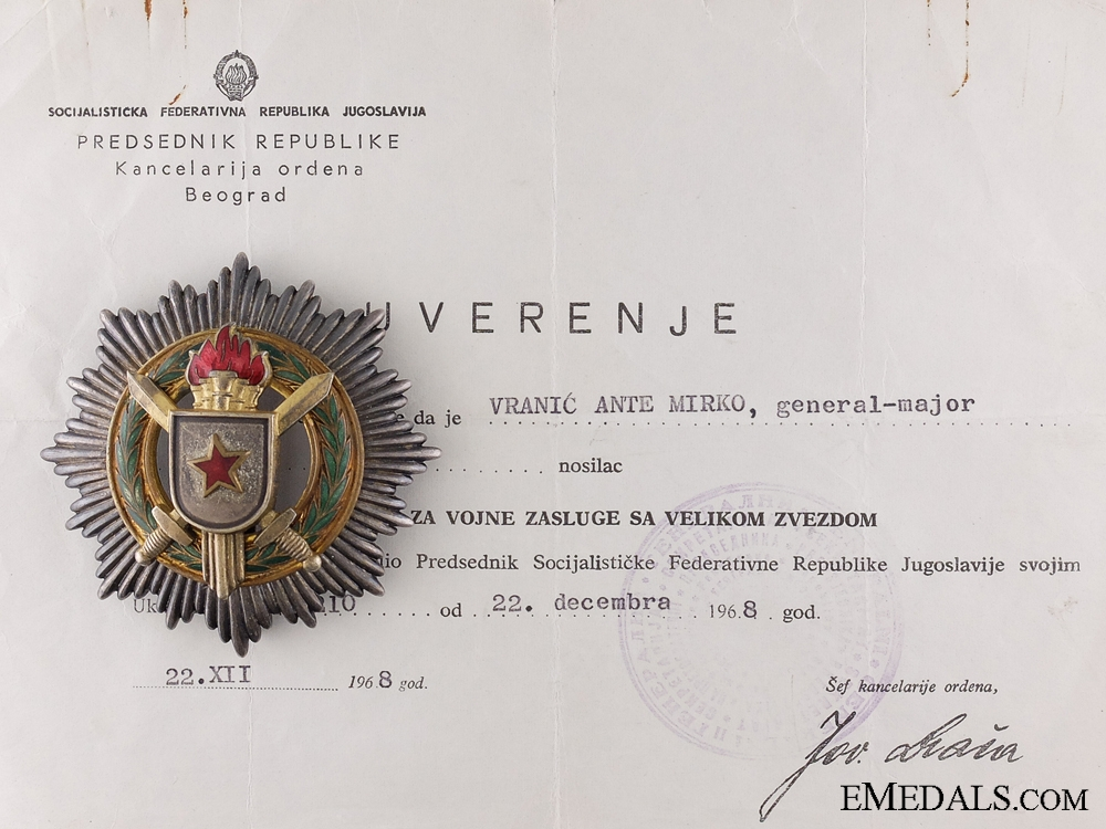 The Order of Military Merit with Grand Star with Document