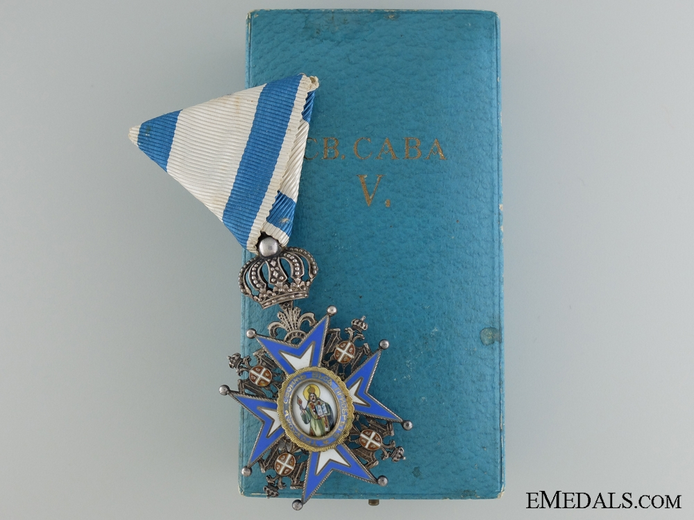 The Serbian Order of St.Sava; Fifth Class by Huguenin Freres