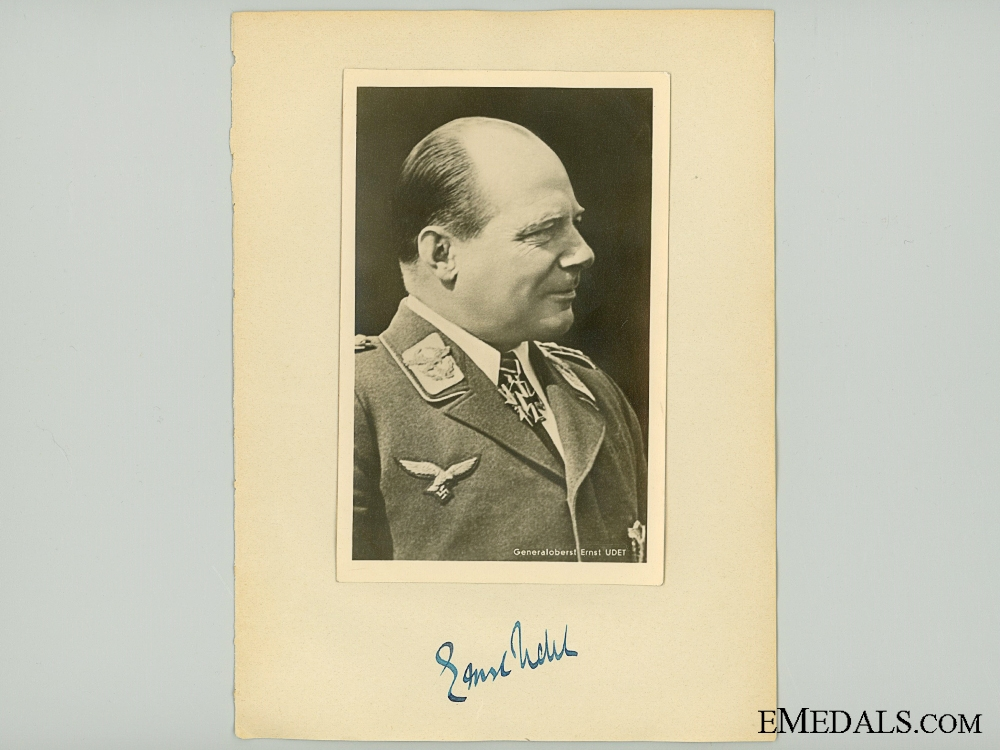 The Signature of WWI Ace & Luftwaffe General Udet