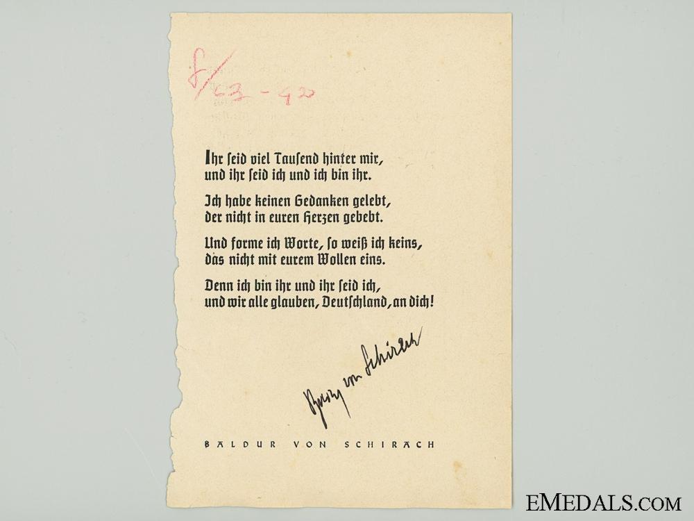 The Signature of HJ Leader Von Schirach