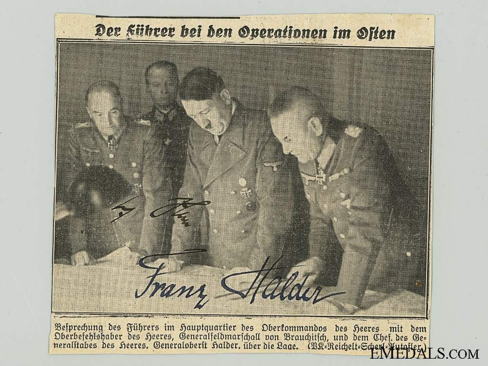 The Signatures of AH And Franz Halder