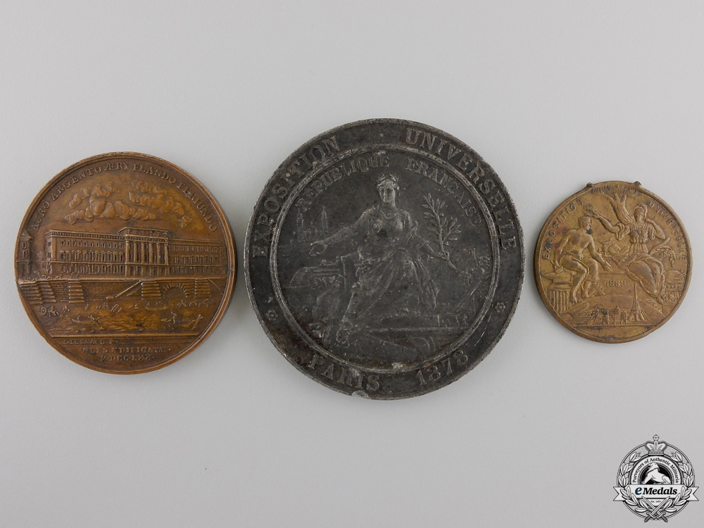 Three 1878-89 Paris Universal Exposition Medals