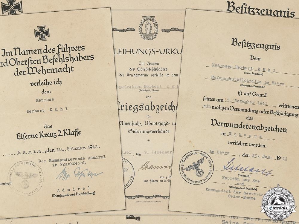 Three Kriegsmarine Award Documents
