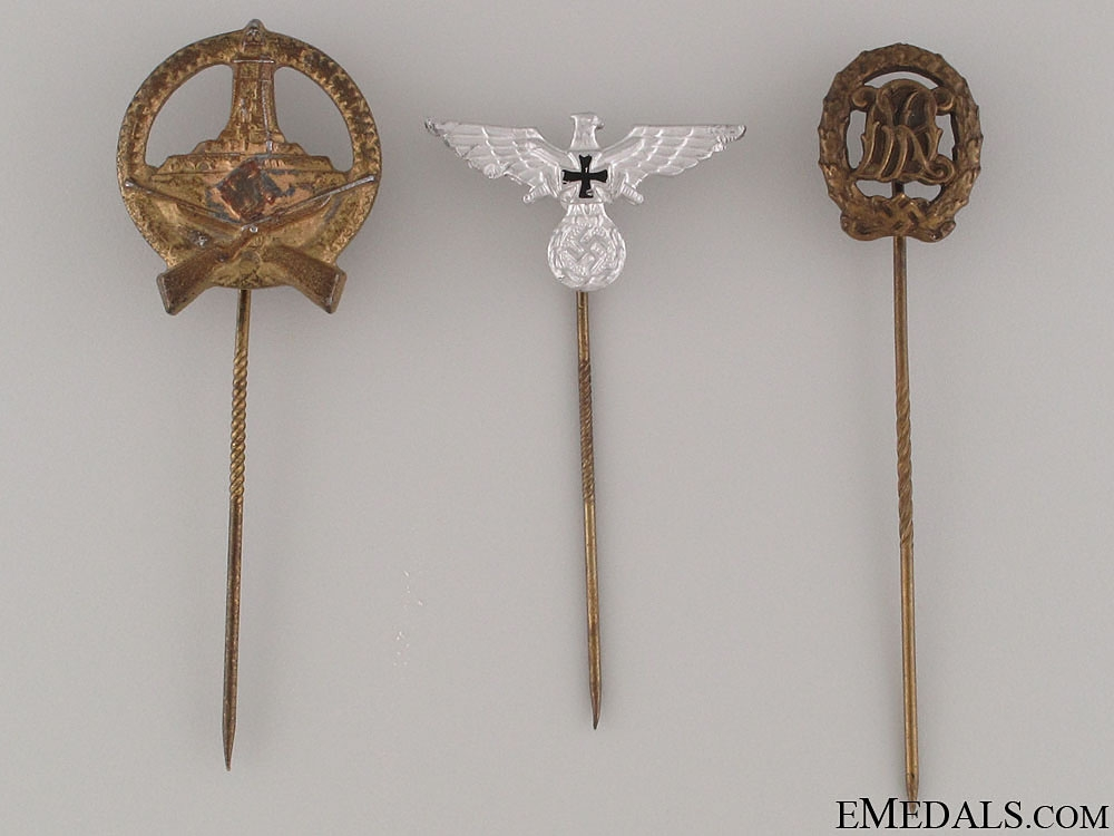Three WWII Period German Stickpins