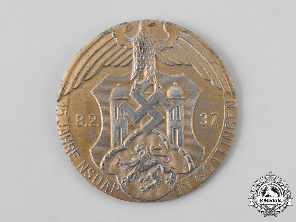 Germany, NSDAP. A 1937 NSDAP Göttingen 15-Year Anniversary Table Medal, with Case, by Schmal & Schulz