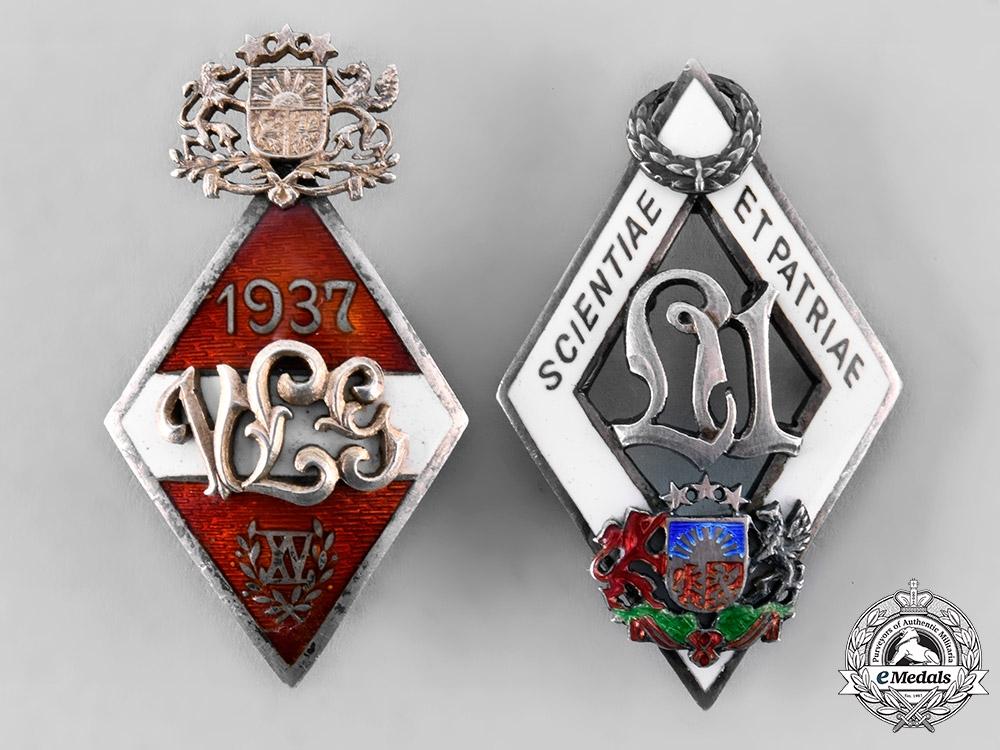 Latvia, Republic. A Pair of University Graduation Badges, c.1937
