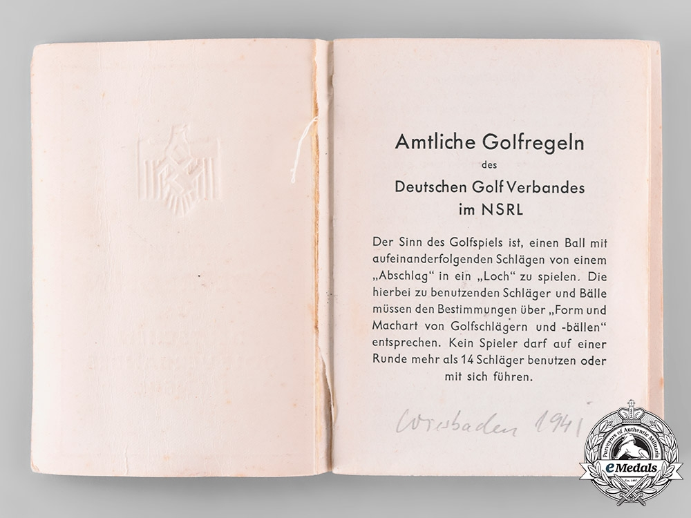 Germany, NSRL. A National Socialist League of the Reich for Physical Exercise (NSRL) Official Golf Rulebook