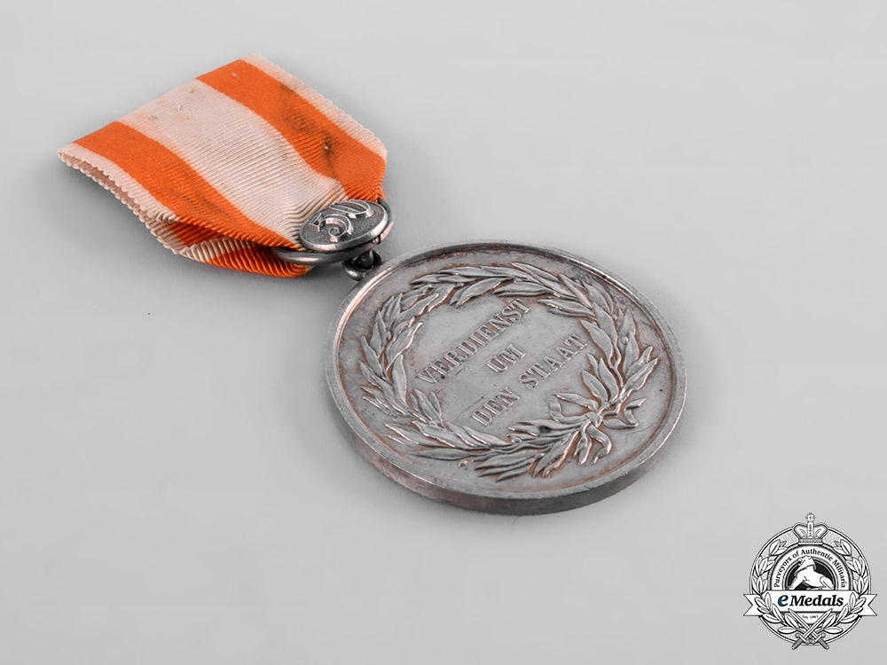 Prussia, Kingdom. A General Merit Medal, Type III, II Class with Commemorative Button 50