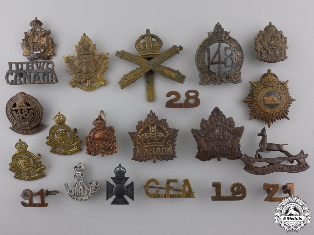 Twenty One Canadian Cap, Collar, and Sweetheart Badges