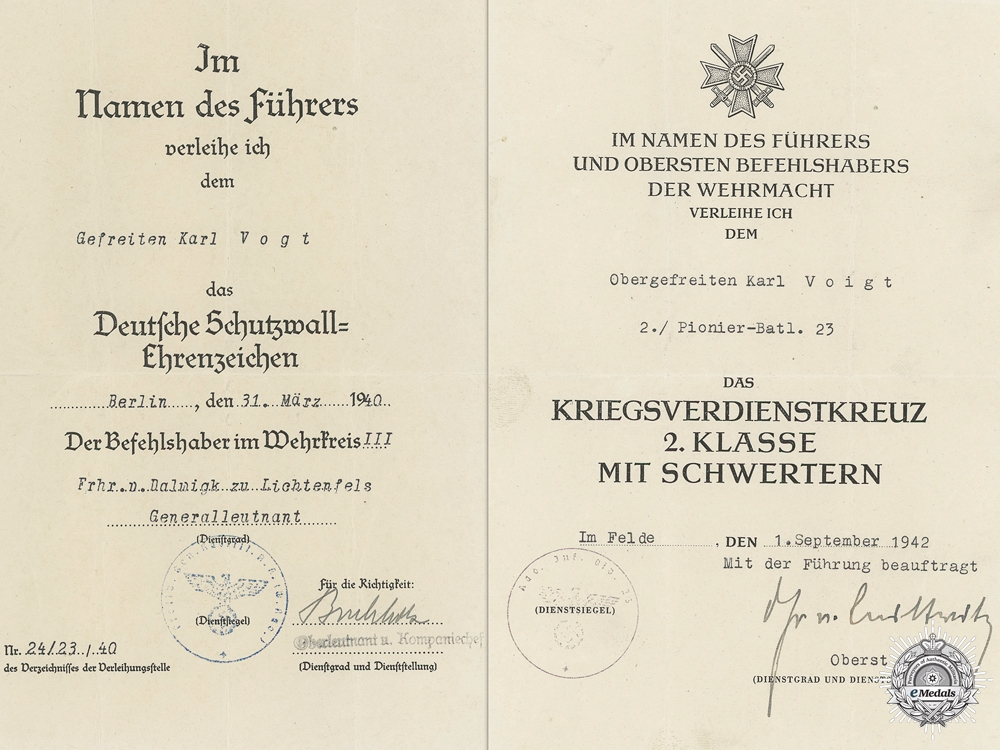 Two Award Documents to the 2nd Pioneer Battalion