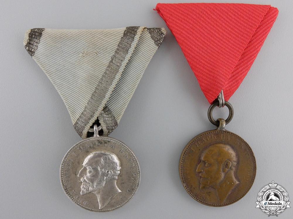 Two Bulgarian Tsar Ferdinand I Medals for Merit