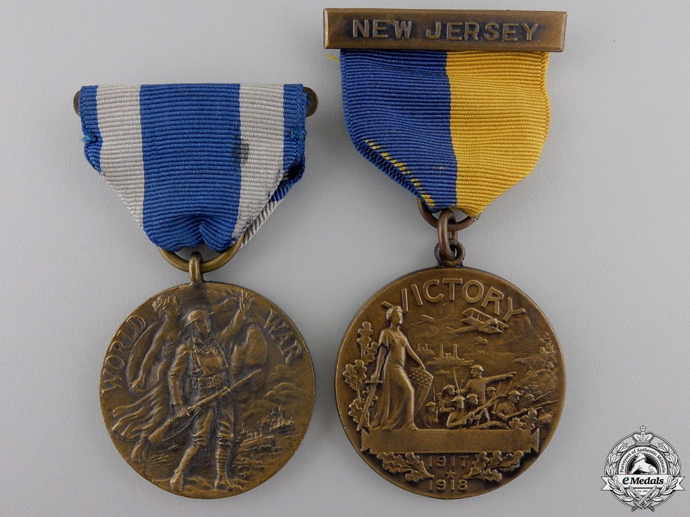 Two First War New Jersey and New York Service Medals