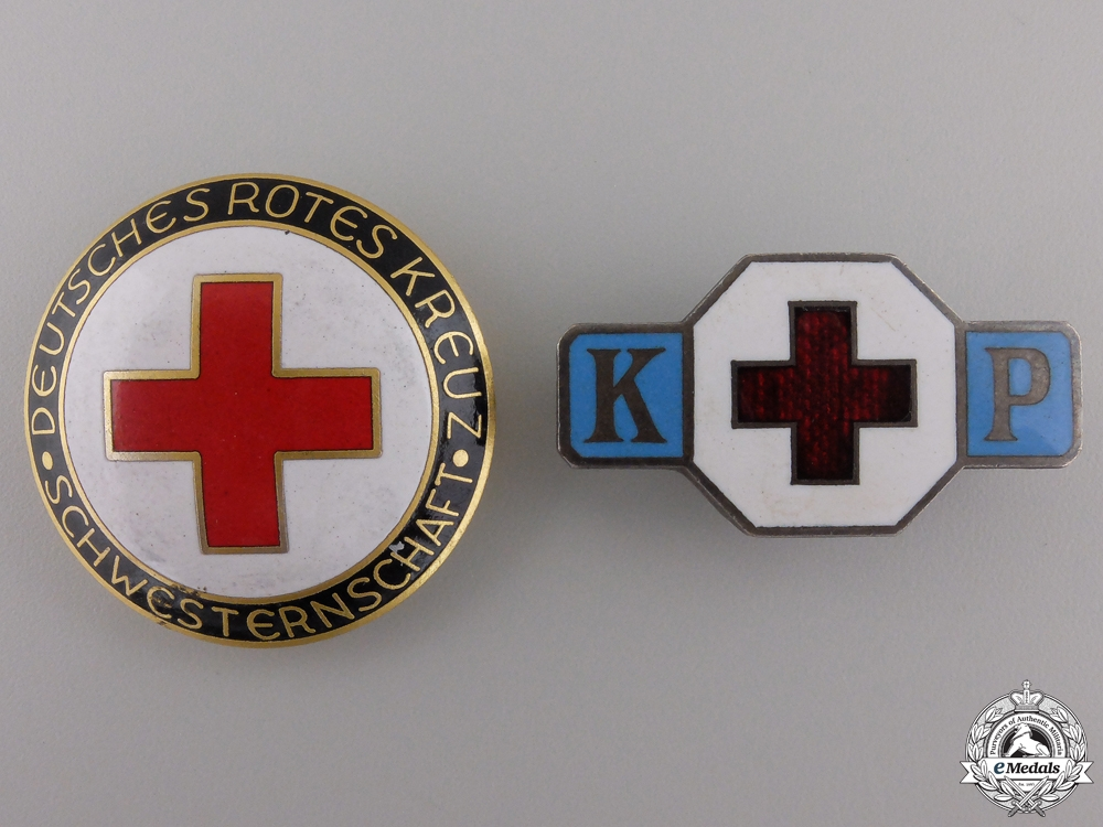 Two German Red Cross Badges