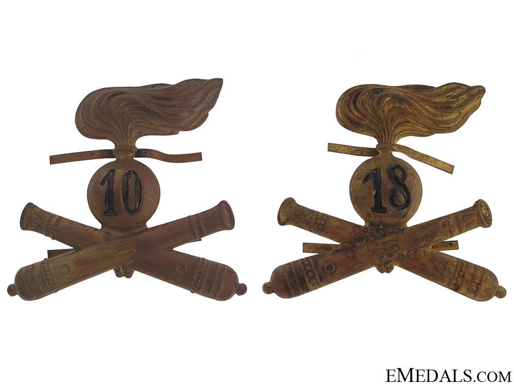 Two Italian Artillery Hat Badges