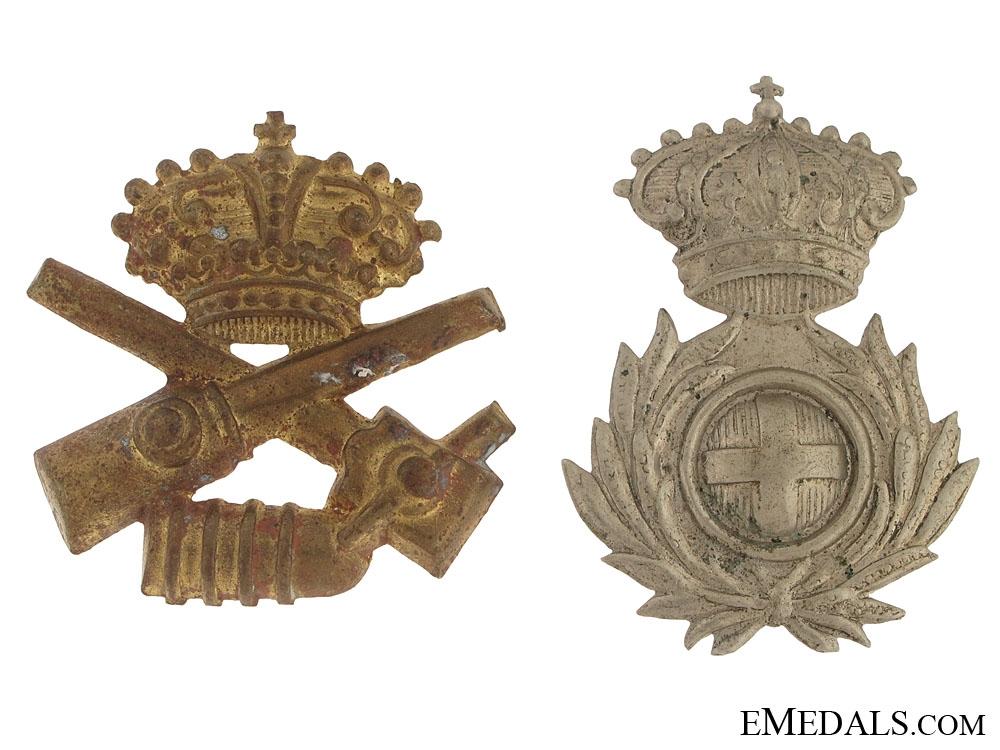 Two Italian Cap Badges