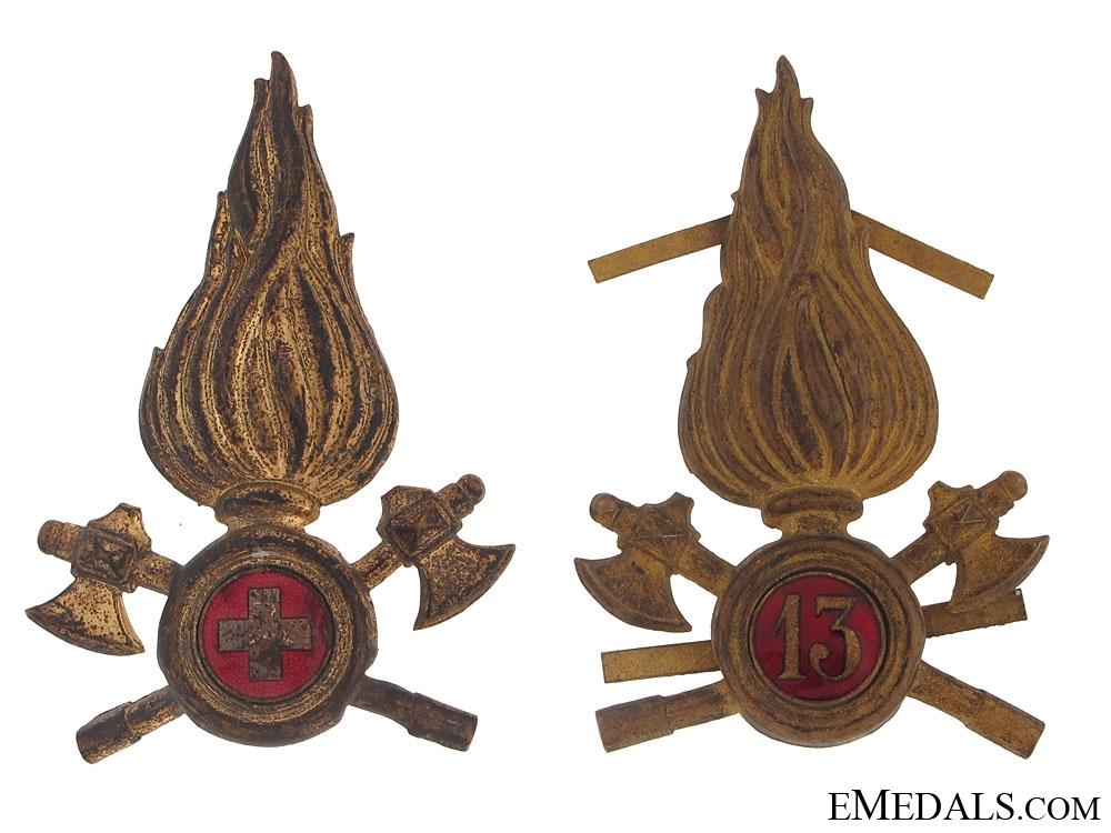 Two Italian Fireman Badges