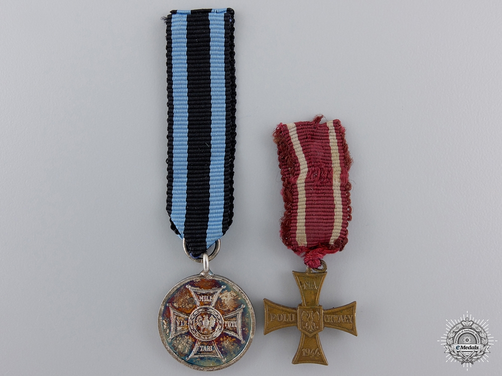 Two Polish Miniature Medals