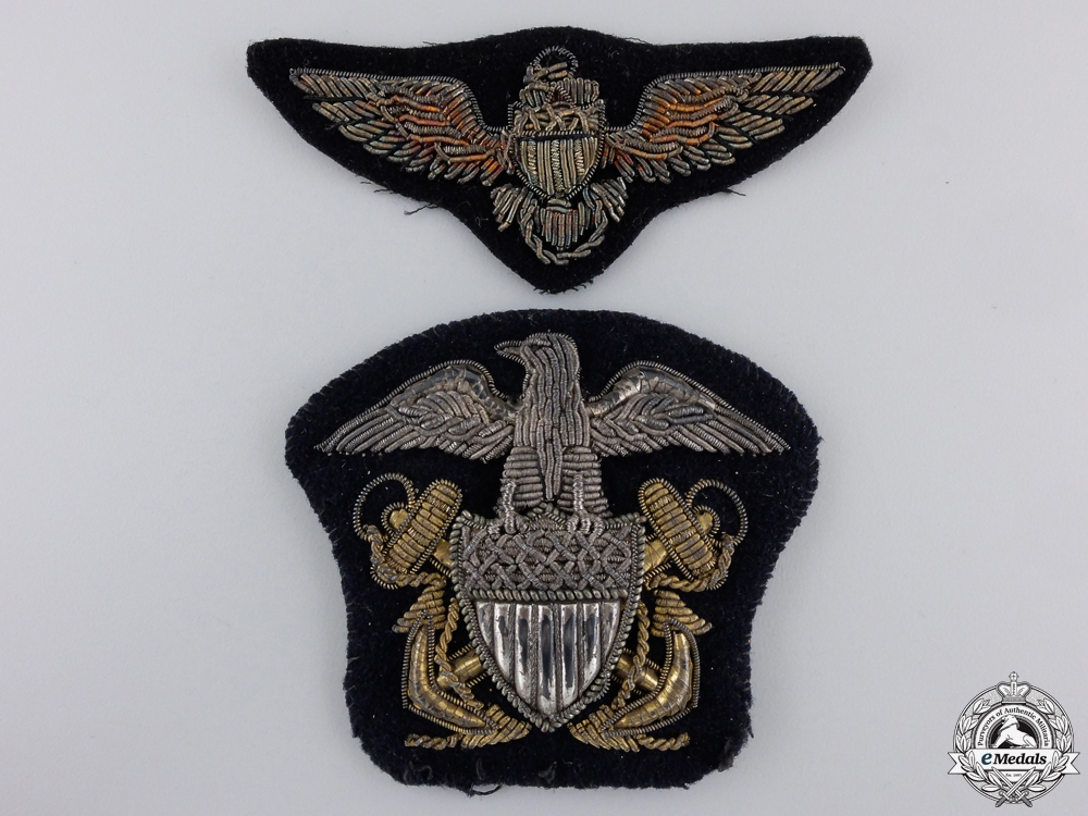 Two Second War American Navy Bullion Badges