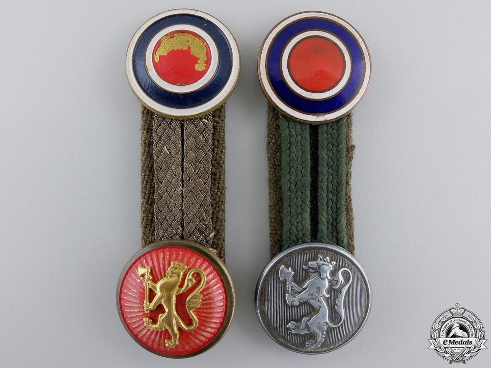 Two Second War Free Norwegian Cap Insignia