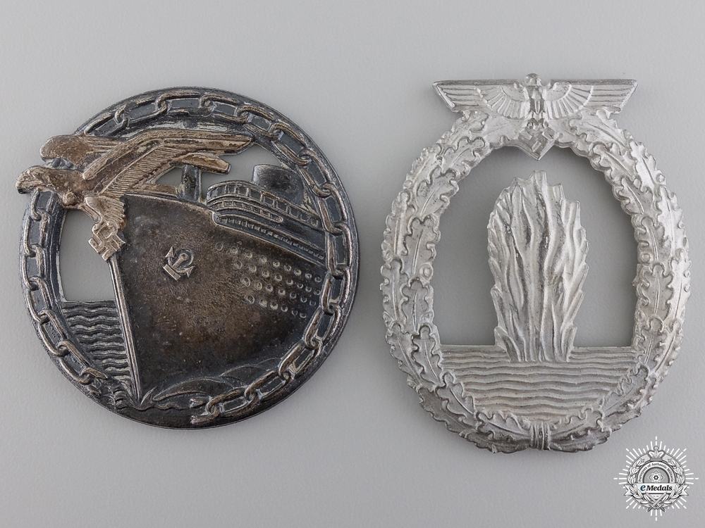 Two Second War Kriegsmarine Badges