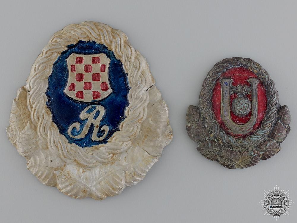Two Second War Period Croatian Cap Badges