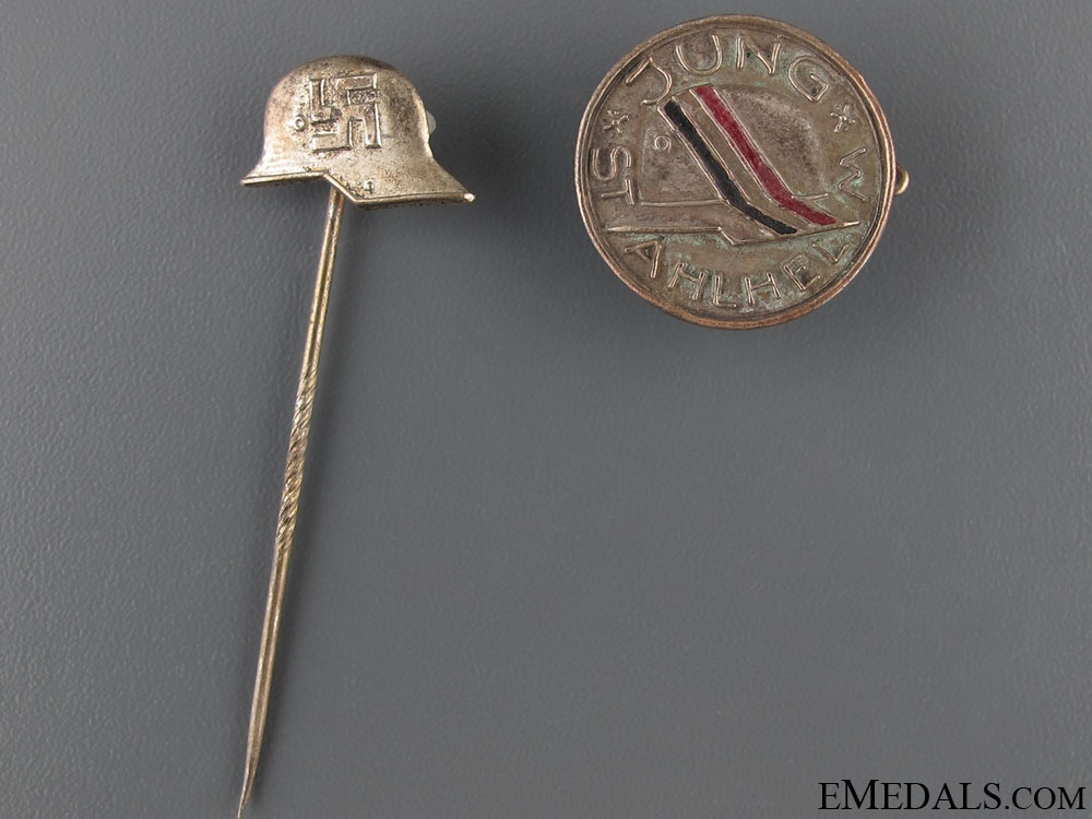 Two Stahlhelm Badges