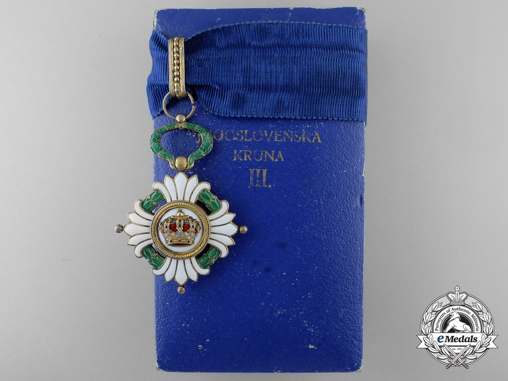 A 1929-1941 Order of the Yugoslavian Crown; 3rd Class Commander with Case