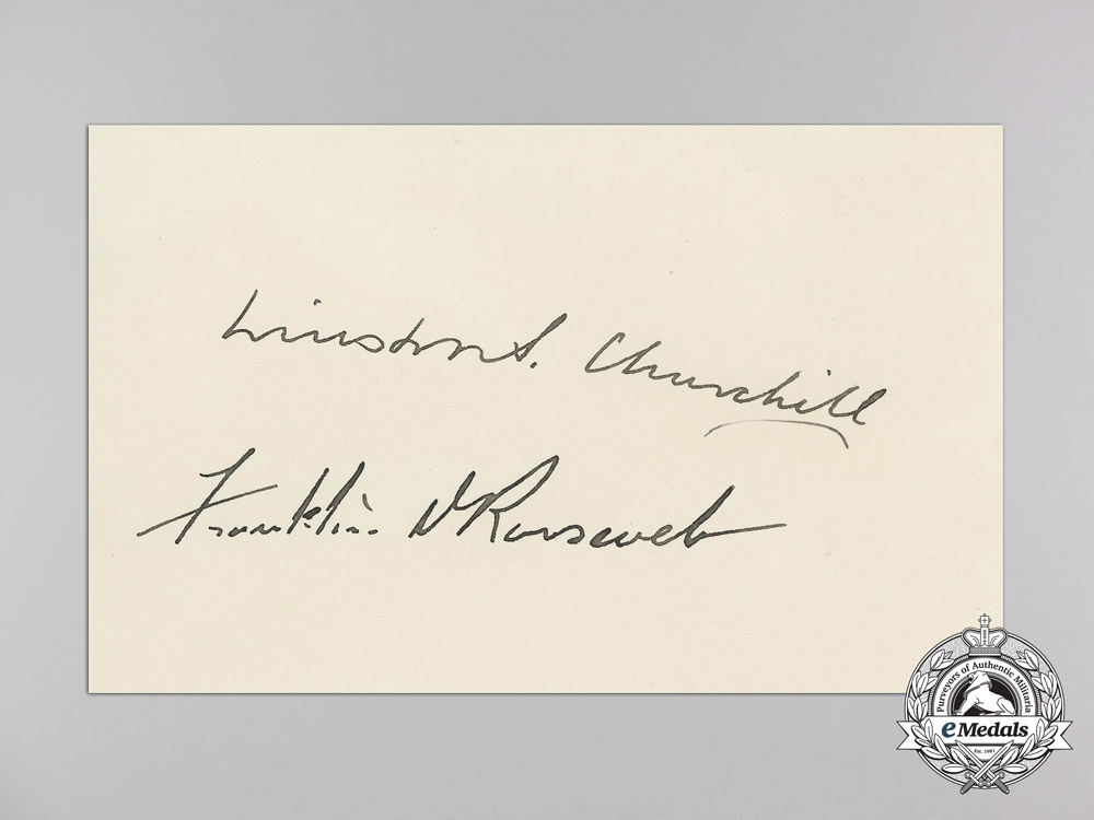 A Most Rare Press Photo & Signatures of Churchill & Roosevelt at the 1942 Pacific War Council