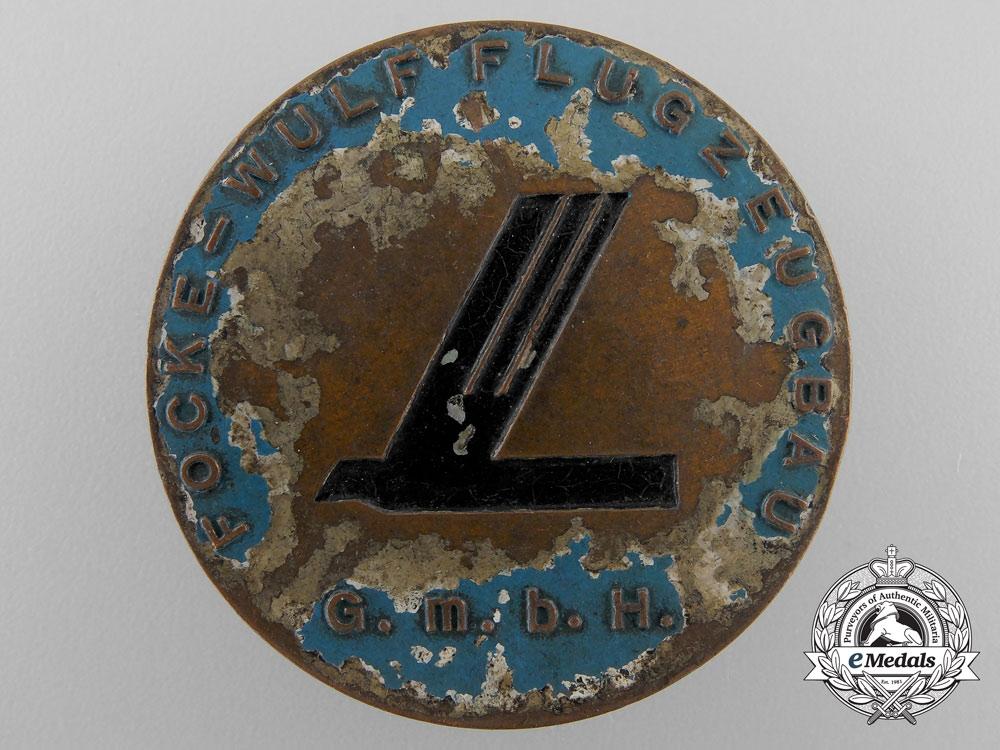 Germany, Luftwaffe. A Scarce Focke Wulf Factory Employee Badge