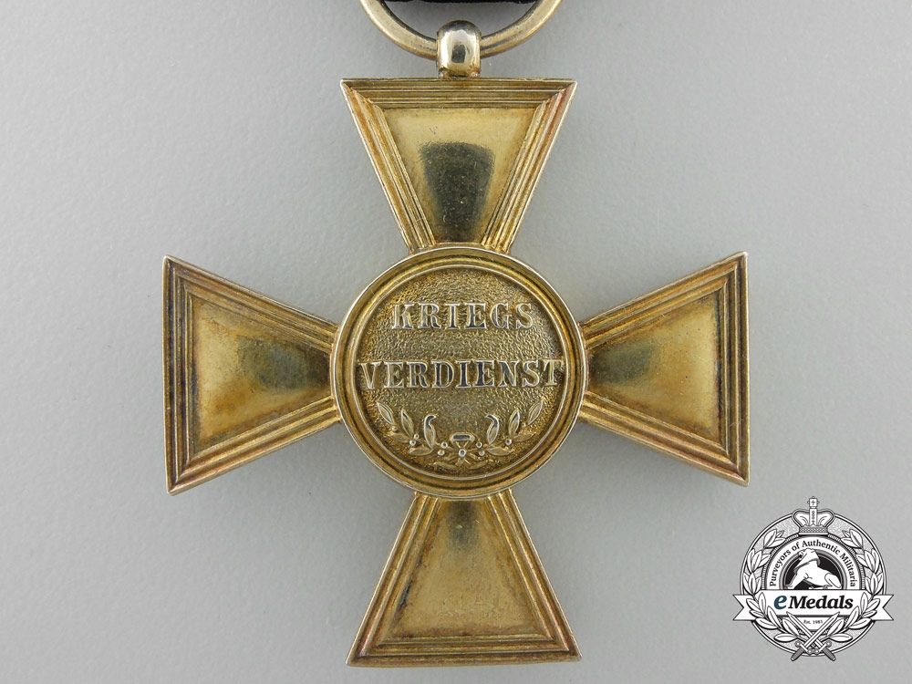 A  Prussian Golden Military Merit Cross with Case by Wagner, Berlin
