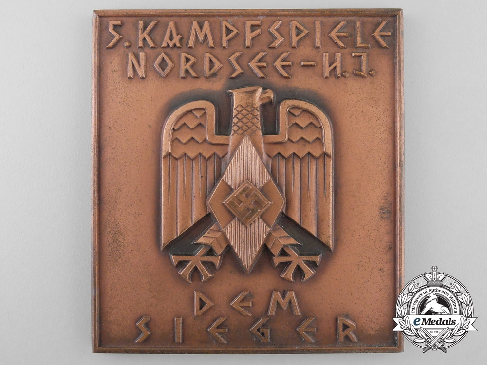 A Hitler Youth Winners Plaque; Nordsee Competition