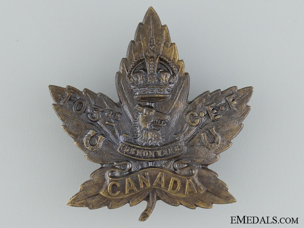 WWI 103rd Infantry Battalion Cap Badge CEF
