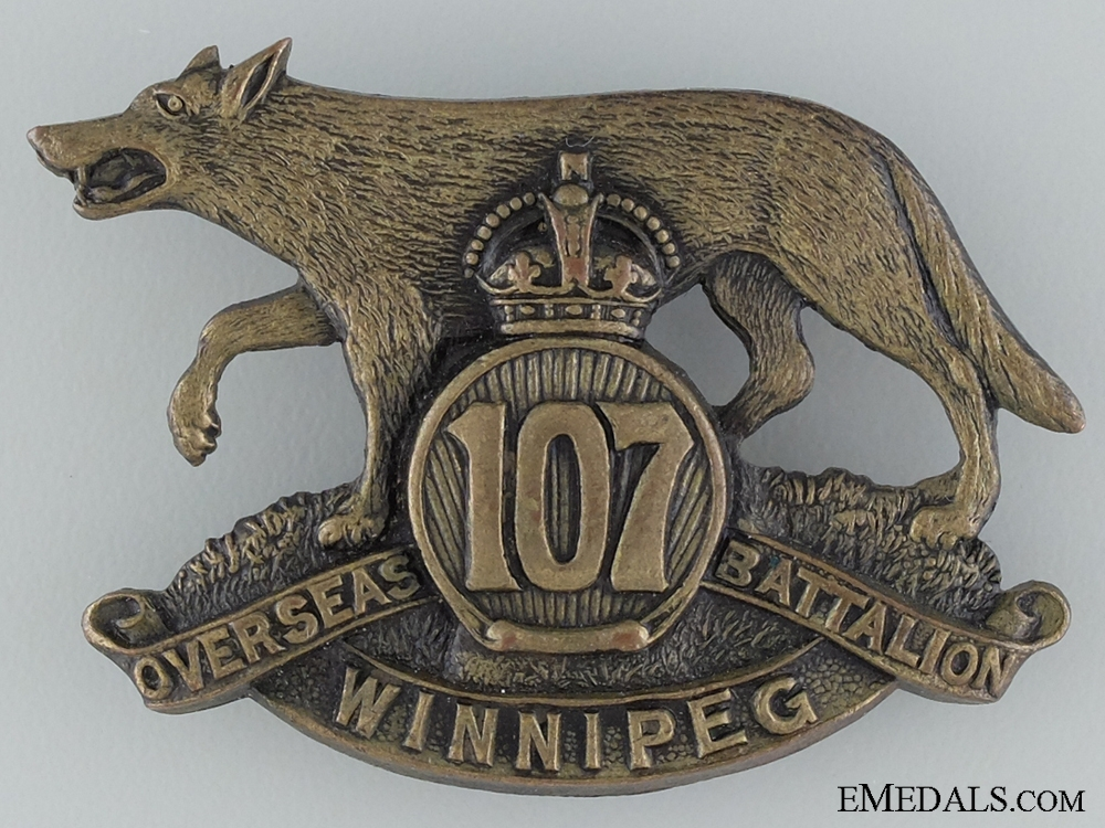 "WWI 107th Infantry Battalion ""Winnipeg Battalion"" Cap Badge CEF"