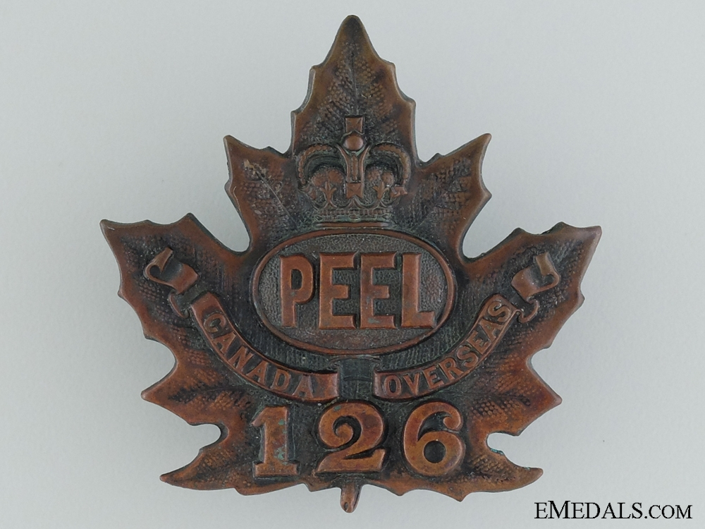 "WWI 126th Infantry Battalion ""Peel Battalion"" Cap Badge CEF"