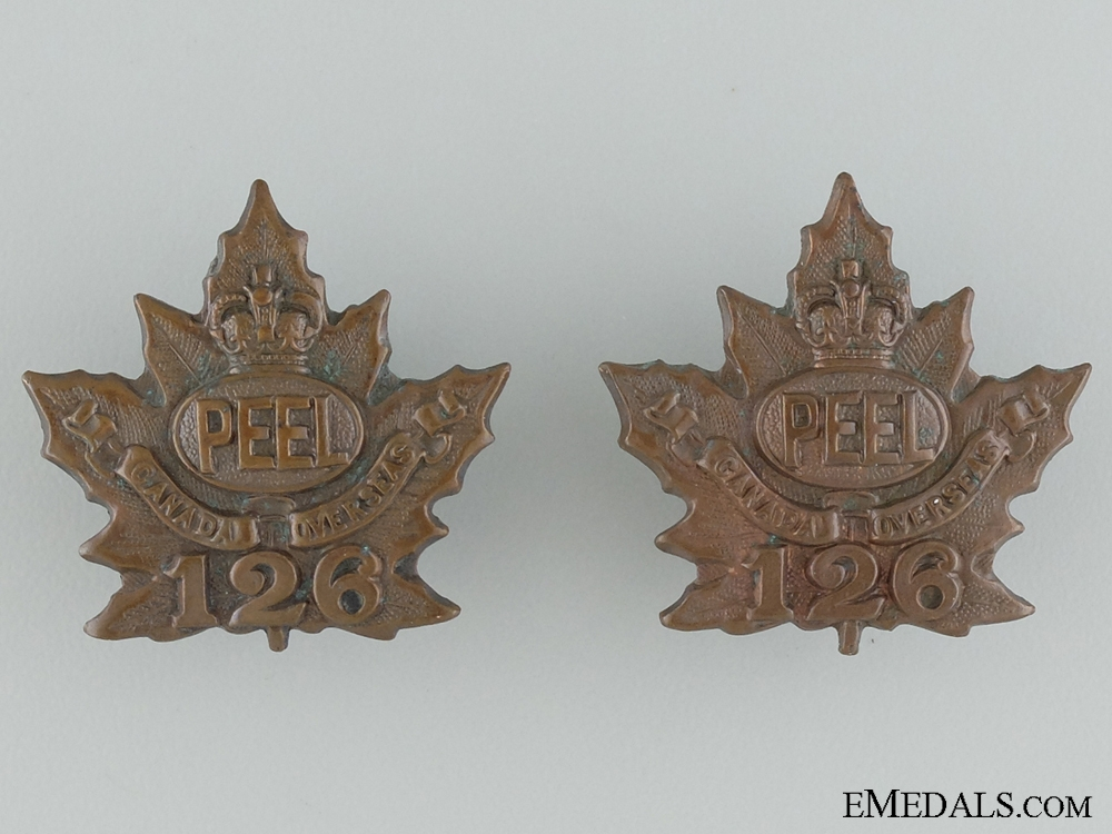 WWI 126th Infantry Battalion Collar Pair CEF