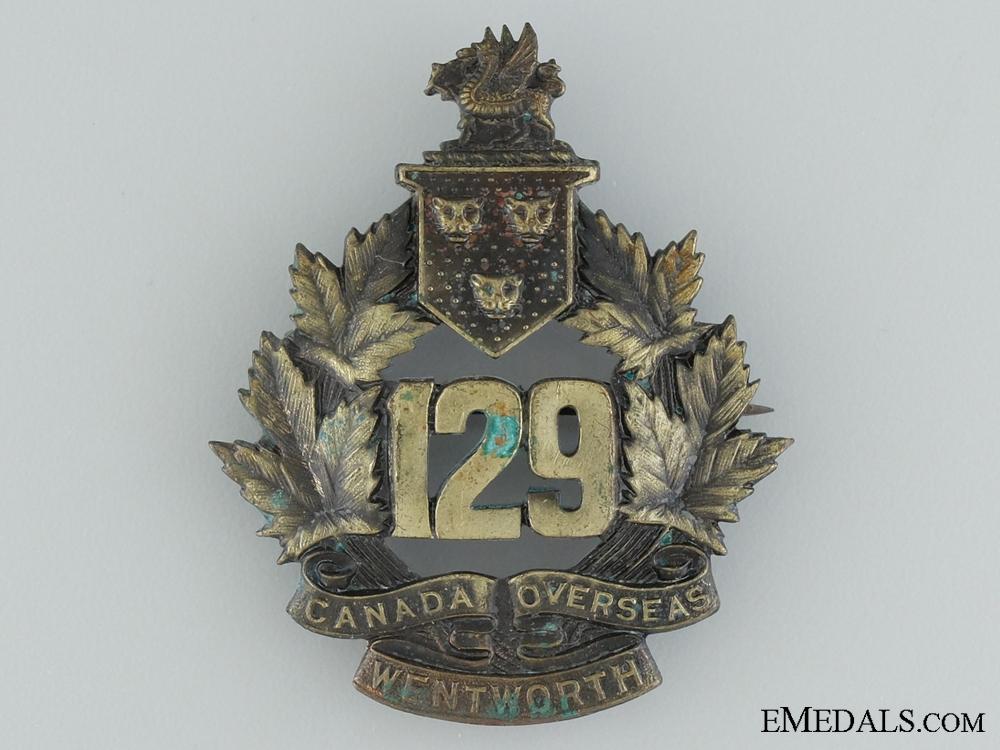 "WWI 129th Infantry Battalion ""Wentworth Battalion"" Cap Badge"