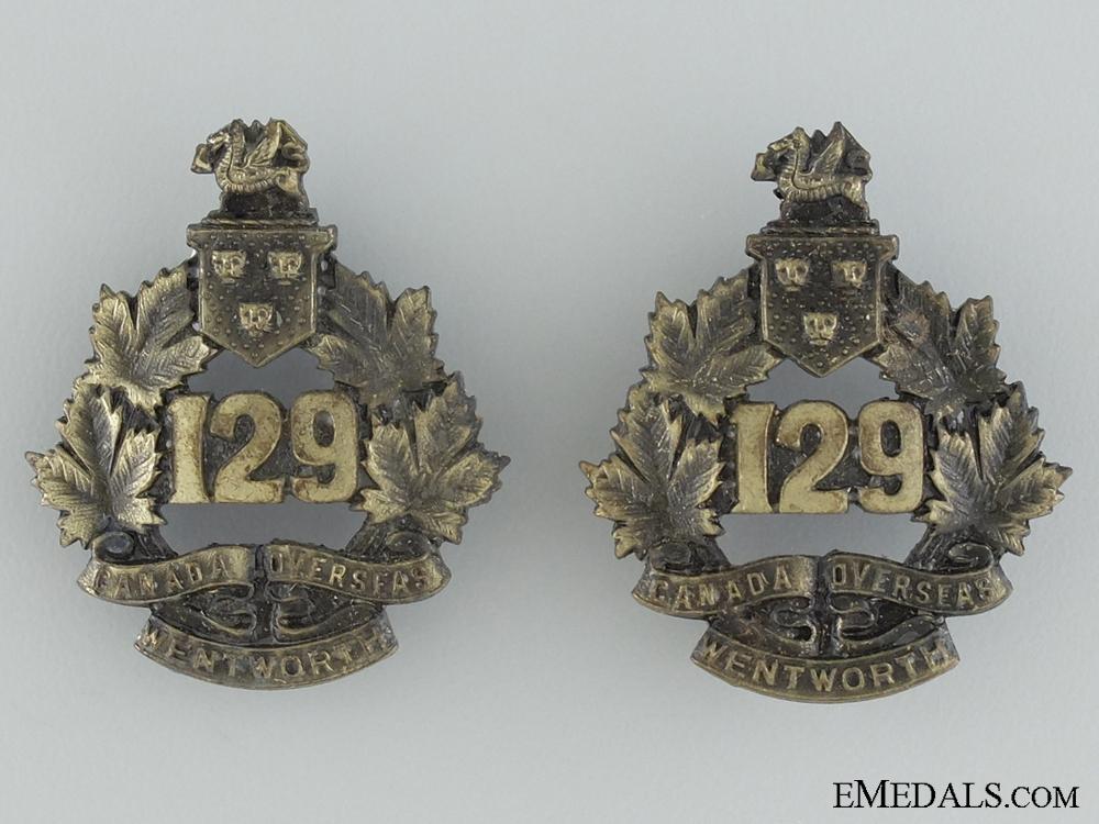 WWI 129th Infantry Battalion Collar Badge Pair CEF