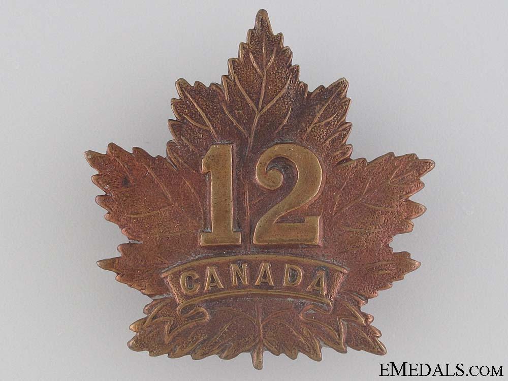 WWI 12th Infantry Battalion Cap Badge CEF
