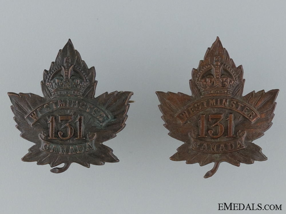 "WWI 131st Infantry Battalion ""Westminster Battalion"" Collar Pair"