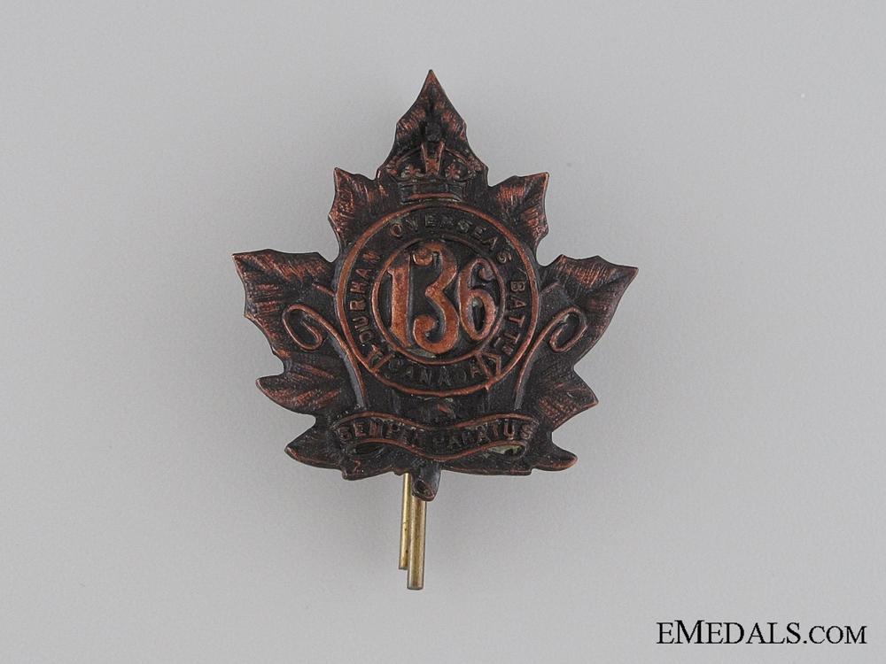 WWI 136th Infantry Battalion Collar Tab CEF