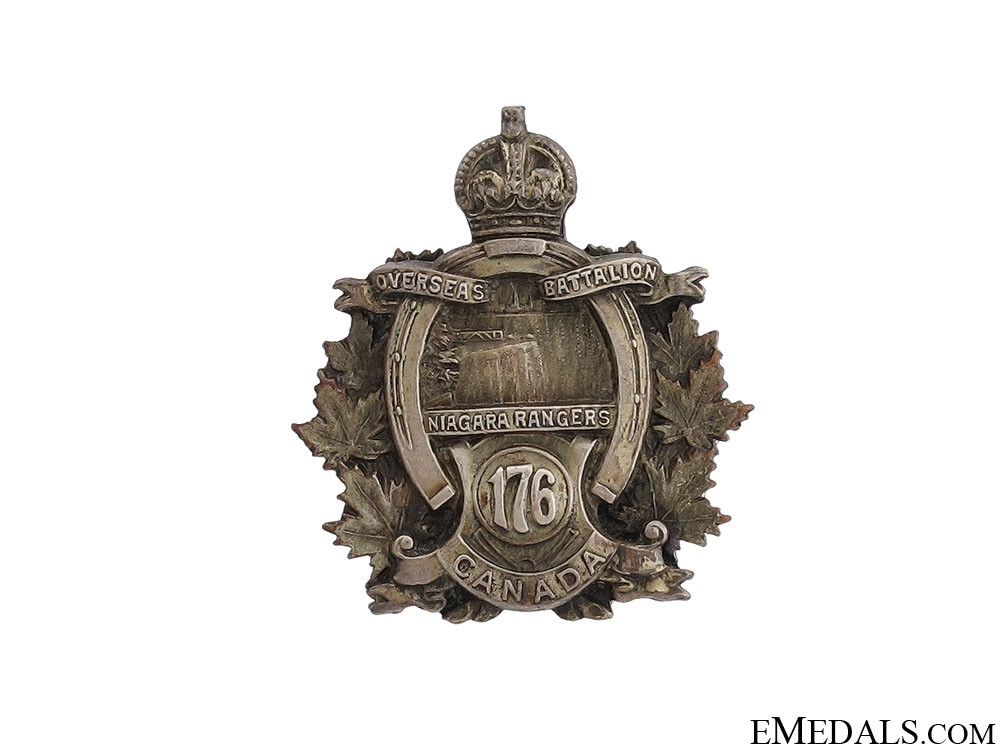 WWI 176th Officer's Collar Badge CEF
