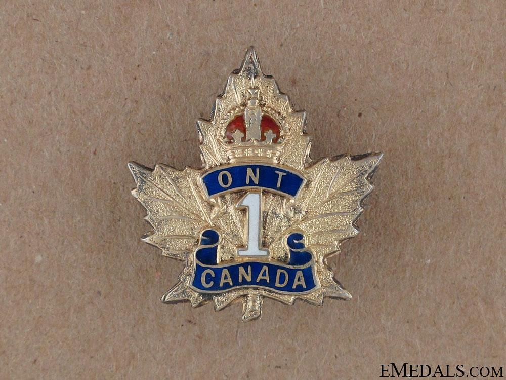 WWI 1st Ontario Regiment Sweetheart Pin CEF